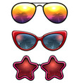 fashion sunglasses collection with palm trees vector image