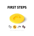 First steps icon in different style vector image vector image