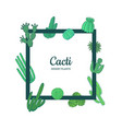 hand drawn desert cacti plants frame banner vector image vector image