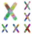 Happy colorful fractal font set - letter X vector image vector image