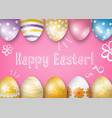 happy easter greeting card on a pink background vector image