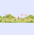 happy people and children run and fly colorful vector image