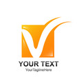 initial letter v logo template colored orange vector image vector image