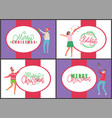 jingle bells happy new year and merry christmas vector image vector image