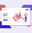 Landing page template of magical effect concept
