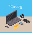 laptop with smartphone and smartwatch technology vector image vector image