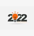 logo 2022 new year with creative lightbulb design vector image