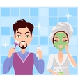 Man and Woman Cleaning Making Washing Procedures vector image vector image