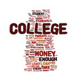 money for college text background word cloud vector image vector image