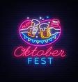 neon sign to oktoberfest festival vector image vector image