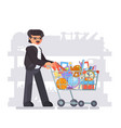 parent father shopping equipment for kid school vector image vector image