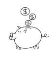 piggy bank coins sketch bribe pig with a document vector image vector image