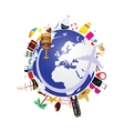 planet earth with travel icon vector image vector image