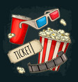 popcorn cup with straw tiket film strip 3d vector image