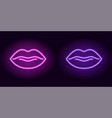 purple and violet neon lips vector image