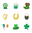 Saint Patrick day icons set cartoon style vector image vector image