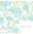Scattered blue green branches frame corner pattern vector image