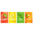 Set labels with fruit drink fresh fruits juice