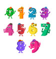 set of funny cartoon numbers characters vector image