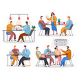 set office staff employees engaged in various vector image