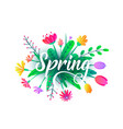 spring word background with flat minimal vector image vector image