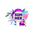 summer - poster with character and floral vector image vector image