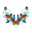symmetrical pattern of blue and orange butterflies vector image