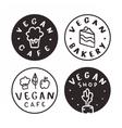 vegan cafe bakery shop logotypes vector image vector image