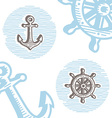 Vintage marine symbols icon set engraving anchor