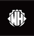 wh logo monogram with shield line and 3 arrows vector image vector image