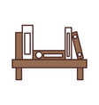wooden bookshelf folder book literature office vector image vector image