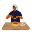 young woman baking pie girl cooking in the vector image vector image