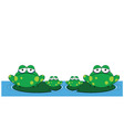 family of frogs vector image