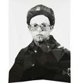 Russian soldier portrait winter form geometric vector image