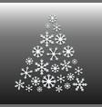 white snowflake christmas tree on gray background vector image