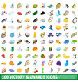 100 victory and awards icons set isometric style vector image vector image