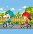 background scene with kids riding bike in park vector image vector image