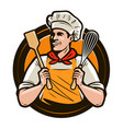 bakery bakeshop logo or label happy cook holds a vector image vector image