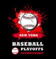 baseball sport game championship poster with ball vector image vector image