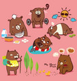 bear different cute emotions and activities vector image