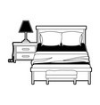 bedroom with lamp over nightstand black color vector image vector image