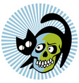 black cat with a smiling skull vector image vector image