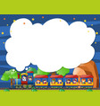 border template with kids on the train vector image vector image