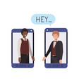 businessmen in smartphone with speech bubble vector image vector image