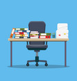 busy cluttered office table vector image vector image
