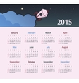 Calendar 2015 year with rocket vector image vector image