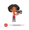 camerawoman flat cartoon character vector image vector image