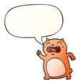 cartoon cat and speech bubble in smooth gradient vector image vector image