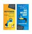 cartoon fitness sport banner card vertical set vector image vector image