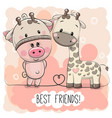 cartoon piggy in a giraffe hat and giraffe vector image vector image